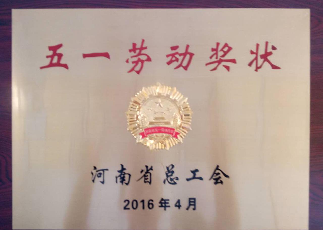 河南省总工会五一劳动奖状